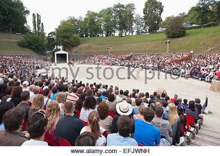 Roman festival in Trier in the amphitheatre, Brot und Spiele Spectaculum, Trier, Rheinland-Pfalz, Germany - Stock Photo