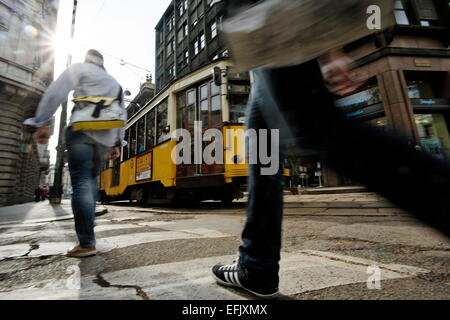 Tramway, Piazza Cordusio, Milan, Lombardy, Italy - Stock Photo