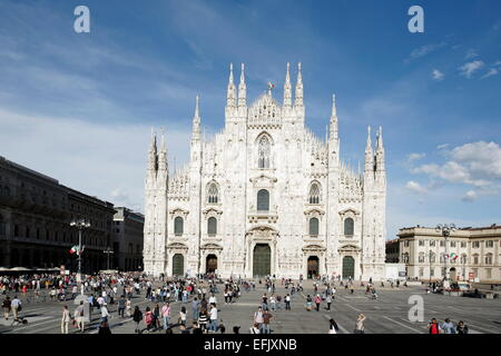 View over Piazza del Duomo to Milan Cathedral, Milan, Lombardy, Italy - Stock Photo