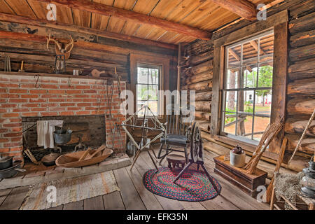 Interior of the historic McMullen-Coachman Log House in the Pinellas County Heritage Village - Stock Photo