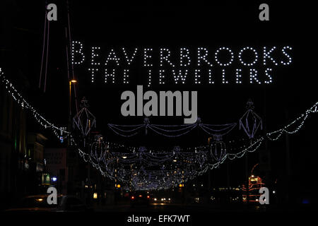 Night view, south from Talbot Square, 'Beaverbrook the Jewellers' LED 'Bling Jewels', Central Promenade, Blackpool - Stock Photo