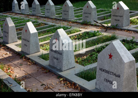 Graves of Soviet unknown soldiers who died during the World War II, Sighisoara, Romania, Eastern Europe - Stock Photo