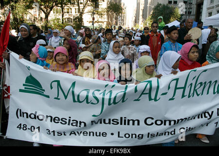 2008: American Muslim Day Parade and festival on Madison Avenue in New York City. Indonesian children march in the - Stock Photo
