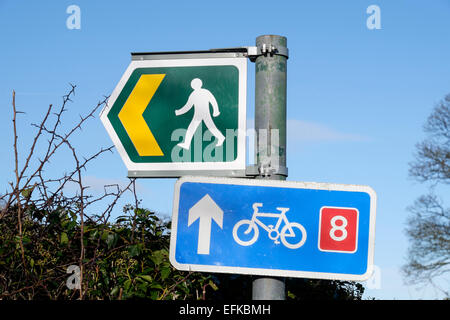 Public footpath sign and cycle route 8 sign on a roadside signpost in a hedge. Llanfair PG, Isle of Anglesey, Wales, - Stock Photo
