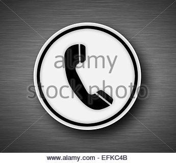 Phone icon on metallic background - Stock Photo