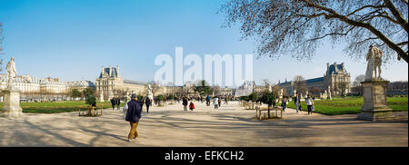Tuileries park, Louvre, Paris, France, March 2012. Stiched panorama. - Stock Photo
