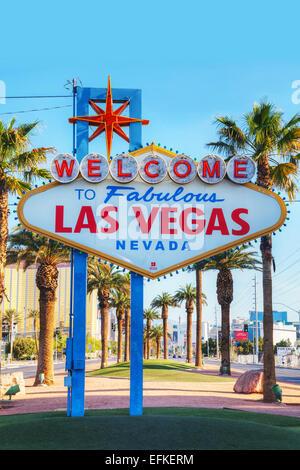 LAS VEGAS - APRIL 19: Welcome to Fabulous Las Vegas sign on April 19, 2014 in Las Vegas, Nevada. - Stock Photo