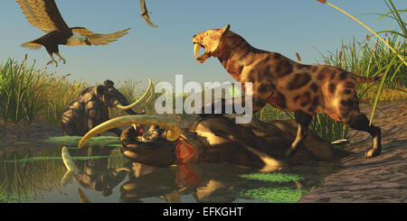 Life comes to an end for a Woolly Mammoth after a valiant struggle to get out of a bog - Stock Photo