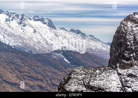 View of the Andes mountains in the Cordillera Real near La Paz, Bolivia - Stock Photo