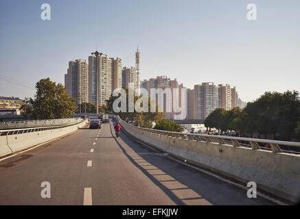 City skyline and highway, Changsha, Hunan, China - Stock Photo