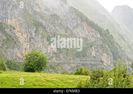 View from Col du Soulor (1474m), Pyrenees, Hautes Pyrenees (France). - Stock Photo