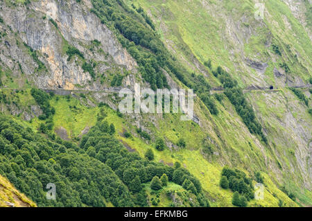 View of a mountain road between Col D'Aubusque and Col du Soulor (1474m). Cirque du Litor. Pyrenees (France). - Stock Photo