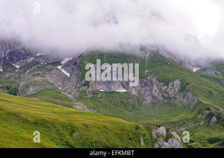 View from Col du Soulor (1474m), Pyrenees, Hautes Pyrenees (France) in a foggy day. - Stock Photo