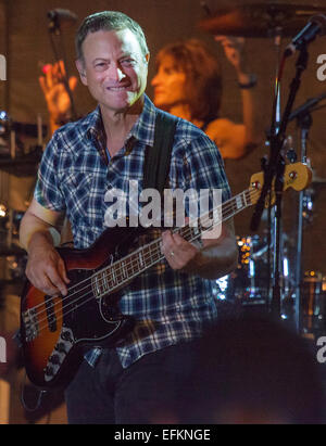 Actor Gary Sinise and the Lt. Dan Band perform for the troops at F.E. Warren Air Force Base August 17, 2014 in Cheyenne, - Stock Photo