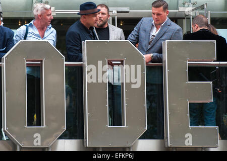 Vinnie Jones standing on the balcony of the Odeon Cinema before the Premiere of The Expendables 3.  Featuring: Vinnie - Stock Photo