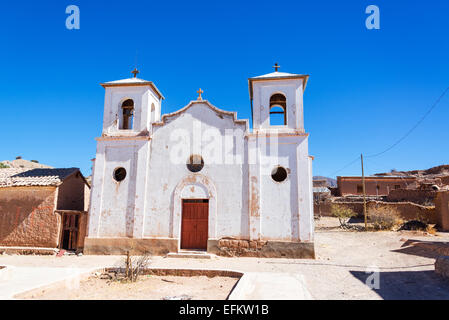 White old historic church in the small town of Chacopampa near Tupiza, Bolivia - Stock Photo