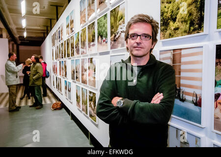 Catalan photographer Xavier Ribas at the launch of his exhibition in Belfast Exposed. - Stock Photo