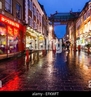 China Town , Gerrard Street at Rain, London, UK - Stock Photo