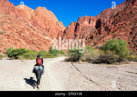 Young woman riding a horse through a dramatic red and green canyon near Tupiza in Bolivia - Stock Photo