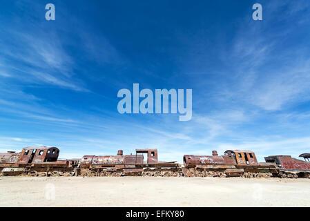 Abandoned train engines in the Train Cemetery at Uyuni, Bolivia - Stock Photo