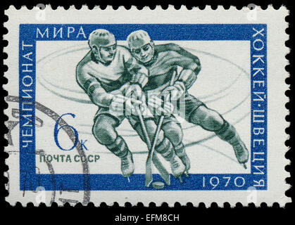 USSR- Circa 1970: USSR stamp dedicated to World ice hockey championship, circa 1970. - Stock Photo