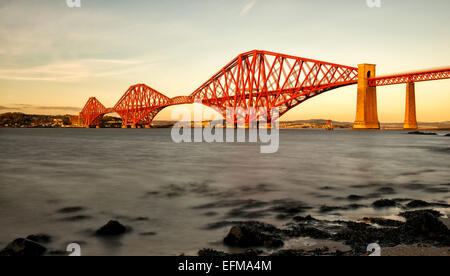 Forth Rail Bridge From South Queensferry, Firth of Forth, Scotland, UK - Stock Photo