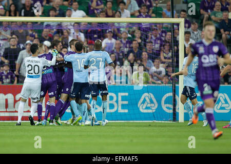 Perth, Australia. 7th February, 2015. Hyundai A-League, Perth Glory versus Sydney FC, Tempers flare during the first - Stock Photo