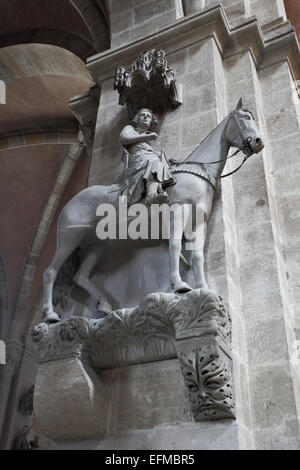 The Bamberg Horseman (Der Bamberger Reiter) - famous sculpture of 13 century, Germany - Stock Photo