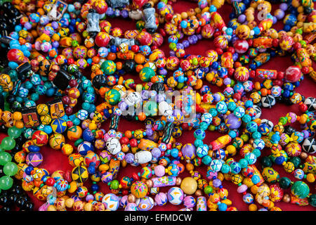 Chichicastenango, Guatemala.  Quiche Indian Bracelets for Sale in the Market. - Stock Photo