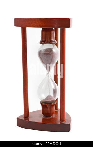 vintage wooden hourglass isolated over white background - Stock Photo