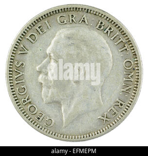 One Shilling coin from King George V reign (1934 English version, heads side). - Stock Photo