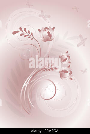 Pink background with swirling lines and butterflies flying on flowers - Stock Photo
