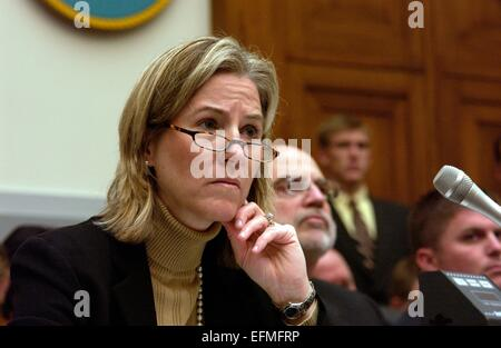 US Under Secretary of Defense Comptroller Tina Jonas listens to a question during a House Armed Services Committee - Stock Photo