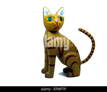 Indigenous Mexican handcrafted wooden cat figurine cut-out. - Stock Photo