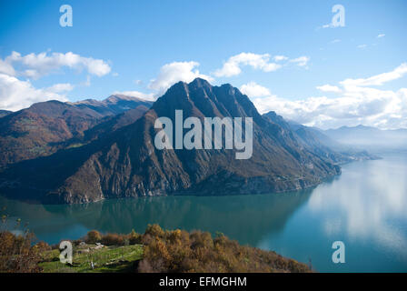 Mountain range at Lake Iseo Italy - Stock Photo