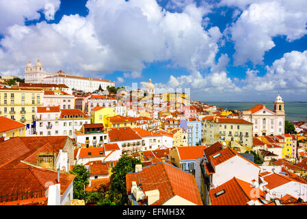 Lisbon, Portugal old town skyline in the Alfama district. - Stock Photo