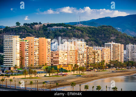 Malaga, Spain at Malagueta Beach along Costa del Sol. - Stock Photo