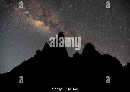 Milky Way at Hatun Machay, Cordillera Negra, Andes, Peru, South America - Stock Photo