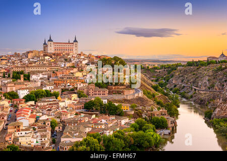Toledo, Spain old city over the Tagus River. - Stock Photo