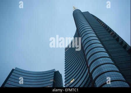 The Unicredit Tower is a skyscraper in Piazza Gae Aulenti, Milan. It is the tallest building in Italy, designed - Stock Photo