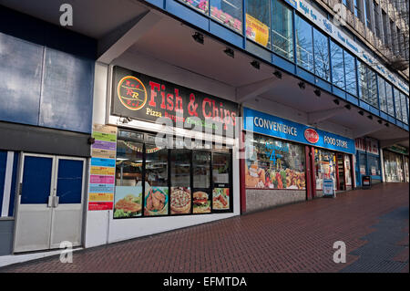 Fish and chips Birmingham and convenience store - Stock Photo