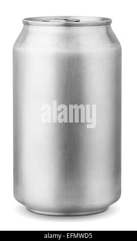 330 ml aluminum can isolated on white background with clipping path - Stock Photo
