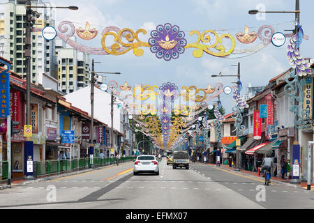 Decorations spanning Serangoon road in the Little India district of Singapore. - Stock Photo