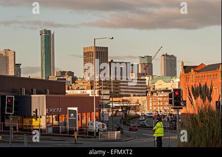 Birmingham city centre shot from digbeth towards the bullring - Stock Photo