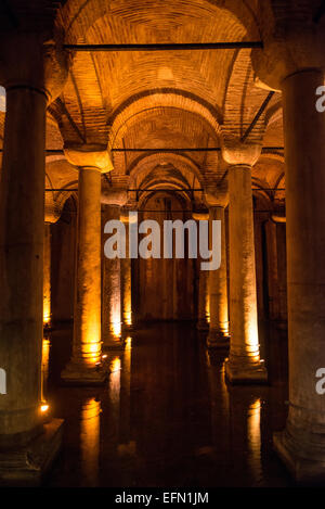 The Basilican Cistern is located in the historical peninsular of Istanbul in the Sultanahment district. It was built - Stock Photo