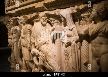 Sidamara sarcophagus, made of marble, from Ambararasi (Konya), dating to the Roman period of the 2nd half of the - Stock Photo