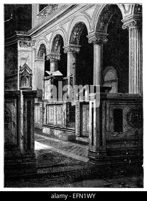 19th century engraving of the Basilica San Clemente, Rome, Italy - Stock Photo