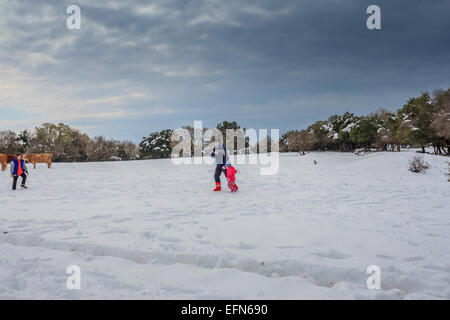 Snowscape. Photographed in the Golan Heights, Israel - Stock Photo