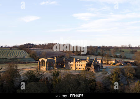 Egglestone Abbey, Barnard Castle, Teesdale, County Durham UK.  Sunday 8th February 2015. UK Weather.  After another - Stock Photo
