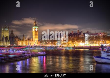 High Dynamic Range of London's Embankmen, Big Ben and Houses of Parliament. - Stock Photo